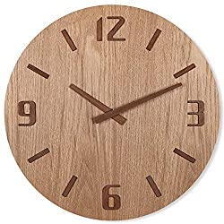 TXL 12 Wood Wall Clock with Mahogany Stereo Numerals/Table Stand, Battery Operated Non Ticking Large Digital Wooden Hanging Clock, Dining Room/Office/Kitchen/Cafe/Restaurant for Desk/Wall Mounted
