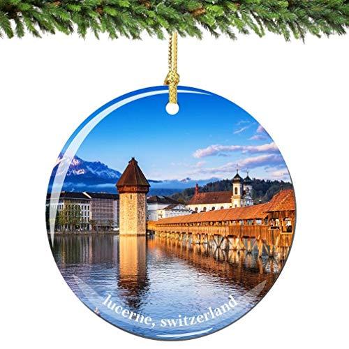 JamirtyRoy1 Lucerne Switzerland Christmas Ornament, Porcelain Swiss Christmas Ornaments City Souvenir Ceramics Christmas Tree Decoration Keepsake Gift, 3' Christmas Ornament