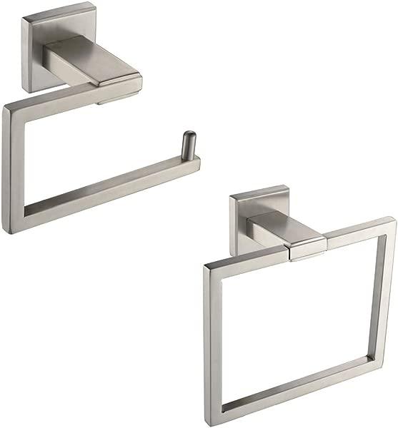 XVL Bathroom Accessories Set Toilet Roll Paper Holder Towel Ring Holder Stainless Steel Brushed Nickel