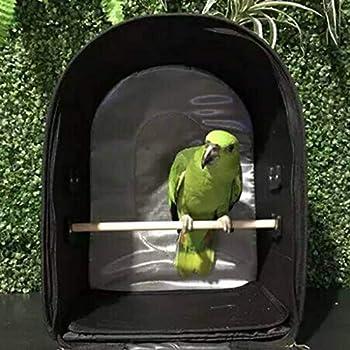 Tubayia Sac de transport à bandoulière pour animal de compagnie - Avec perchoir pour oiseaux, perroquets, perruches, cacatoèstes (noir)