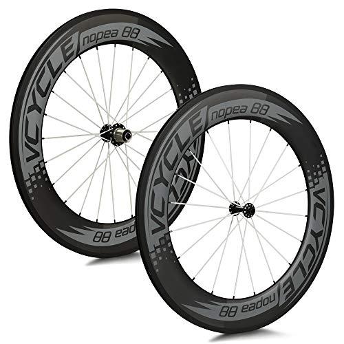 VCYCLE Nopea 700C 88mm Carbono Carretera Bicicleta Rueda Copertoncino Juego para Shimano o Sram 8/9/10/11 Velocidad
