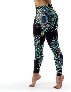 IOVEQG Women High Waist Yoga Pants Green Peacock Feather Premium Printed Skinny Pants for Girl