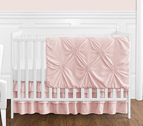 Solid Color Blush Pink Shabby Chic Harper Baby Girl Crib Bedding Set by Sweet Jojo Designs - 4 Pieces