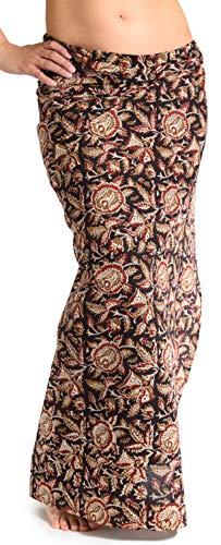 ufash Damen Sarong Lungi Pareo Rock aus Indien, traditionell handbedruckt, Unisex für Männer und Frauen. Boho Gipsy & Hippie Röcke, Braun 4