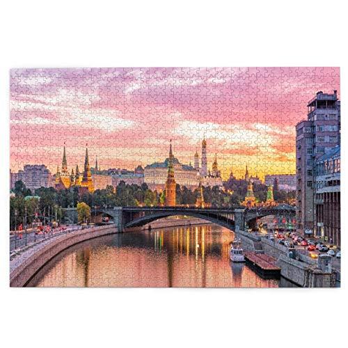 Yoliveya Sierra calar de 1000 Piezas,Moscú Río Kremlin Mañana Rusia,Juegos Rompecabezas imágenes para Adultos y niños Regalo graduación de Boda Familiar