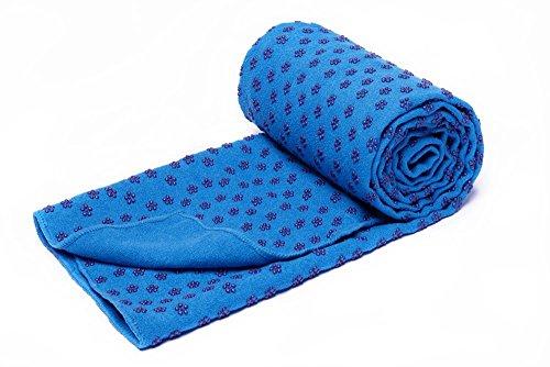 MAXYOGA Toalla para Hacer Yoga - Yoga Mat Towel - Antideslizante con Puntos de Gomas de Agarre. 61 cm x 183 cm. Ideal para Hot Yoga. (Azul)