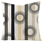 Banemi Fundas Cojines 45X45cm Infantiles, Patrón de Rayas Verticales Y Circulares Poliéster Negro Beige para Sofá de Dormitorio