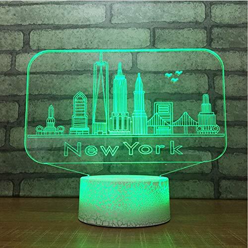 Veilleuses 3D Usb 7 Changement De Couleur Nouveauté Toucher Bouton Lampe De Table De Bureau New York City Bâtiments Modélisation Led Ambiance Nuit Lumière Cadeaux