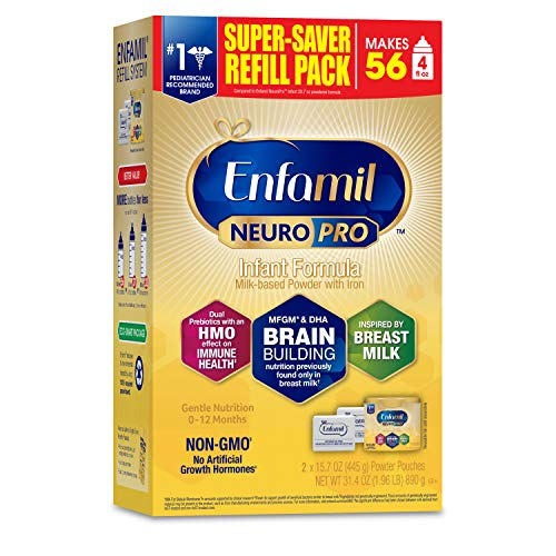 Enfamil NeuroPro Baby Formula Milk Powder 31.4 oz Refill Box, Dual Prebiotics for Immune Support, Infant Formula Inspired by Breast Milk, Brain-building DHA & MFGM, Iron, Non-GMO