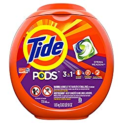 Tide PODS Laundry Detergent Liquid Pacs, Spring Meadow Scent, HE Turbo, 72 Count (Packaging May Vary