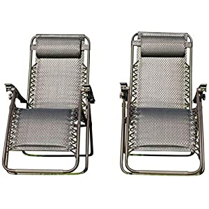 Garden Market Place Set of 2 Padded Zero Gravity Chairs - Tweed