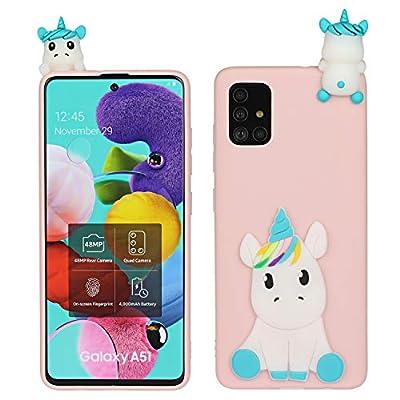HopMore Funda para Samsung Galaxy A51 Silicona Blando Divertidas Panda Animal Carcasa Samsung A51 Dibujo 3D TPU Ultrafina Slim Case Antigolpes Caso Protección Cover Gracioso - Unicornio Rosa