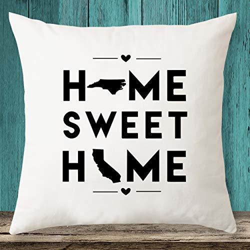 North Carolina & California Home Sweet Home State Maps - Funda de almohada personalizada