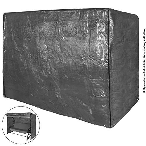 BB Sport Schutzhülle Abdeckhülle Abdeckplane für Hollywoodschaukel grau - mit 2 Reißverschlüssen und Befestigungskordel - 4 Sitzer 205 x 165 x 125 cm