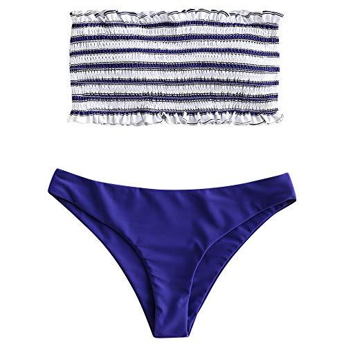ZAFUL Women's Striped Smocked Bandeau Bikini Set Strapless Shirred Padded Two Piece Swimsuits Cobalt Blue M