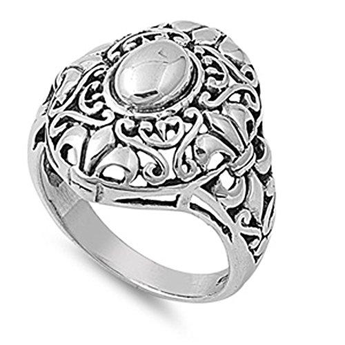 Sterling Silver Women's Celtic Fleur De Lis Ring Fashion Band 22mm Size 9