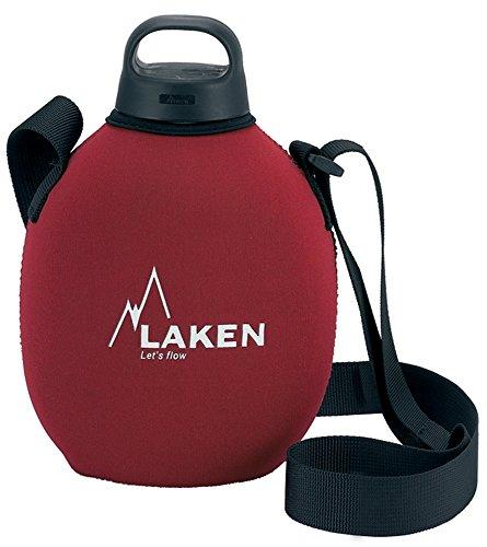 Laken Clásica con Tapón Classic, Cantimplora de Aluminio con Fonda de Neoppreno, Rojo, 1 L