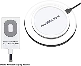 ANGELIOX Wireless Charger with Qi Wireless Charging Receiver Compatible iPhone 7/7 Plus / 6/6 Plus / 6s / 5Se / 5s / 5c / 5 and All Qi-Enabled Phones (Qi Receiver Included)