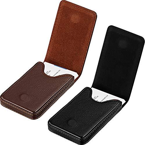 Portatarjetas de Visita de 2 Piezas,PU Estuche para Tarjetas de Presentación Bolsillo Portatarjetas de Presentación Comercial con Cierre Magnético ID de Tarjeta de Crédito Es (Negro y Café)