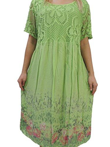 Nowingline Schöne Farben zur Auswahl Damen Kleider Größe 46 48 50 52 54 mit Blumenmuster (Apfelgrün)