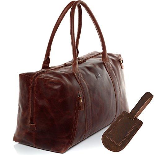 SID & VAIN Reisetasche mit Adressanhänger echt Leder Yale Zip groß Sporttasche Weekender Ledertasche...