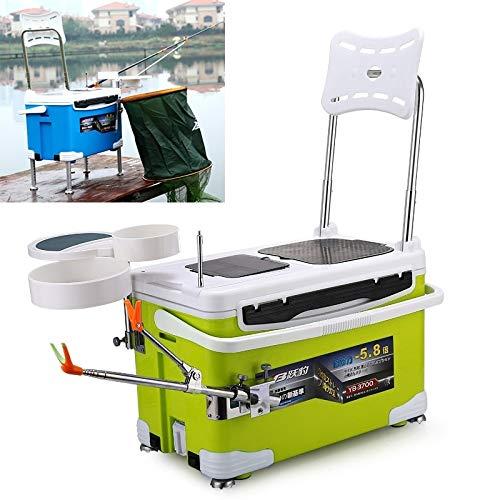 LUNCA Multifunción Pesca Cátedra Caja con Cebo Bandeja y UmbrellaStand y Pesca Kit de Soporte de la caña de Pescar Easy to Use (Color : Green)