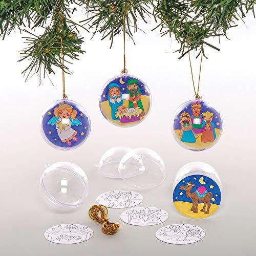 Baker Ross Bastelsets Weihnachtskugeln zum Ausmalen (8 Stück) Weihnachtsgeschichte Basteln für Kinder