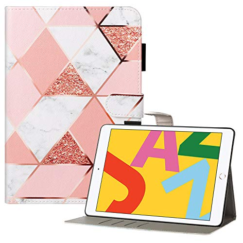 Coopts iPad 7th Generation Case with Pencil Holder, iPad 10.2 2019 Case, Premium PU Leather Protective Folio Stand Smart Wallet Case for iPad 10.2' 7th Gen 2019/Air 3 2019/Pro 10.5 2017, Pink Marble