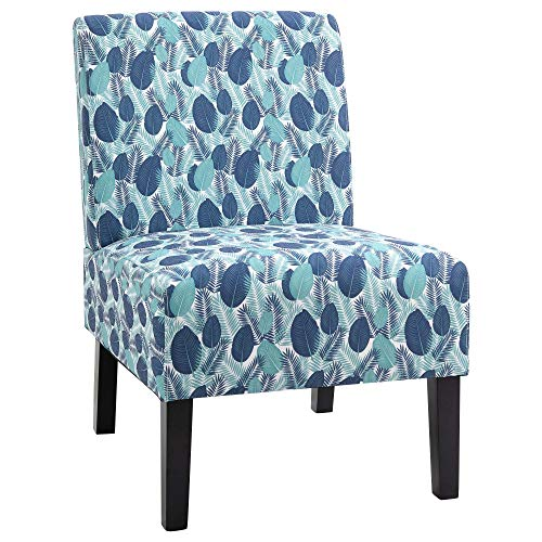 HOMCOM Linen Fabric Dining Chair with Pine Wood Legs and Sponge Padded Cushion, for Living Room, Dining Room, Office, Dorm, Leaf Pattern