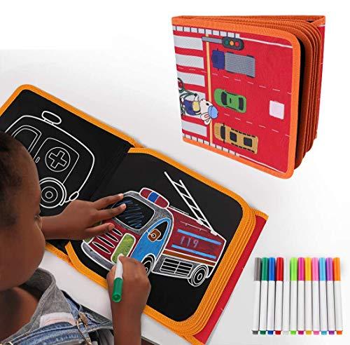 STLOVe Tabla de Dibujo Portátil para Niños,Tablero de Dibujo de Graffiti,Innovadora Pizarra para Dibujar Durante Viajes o en Casa, Blandos y Dibujar de 14 páginas,12 Magic Pens,30*30cm (a)