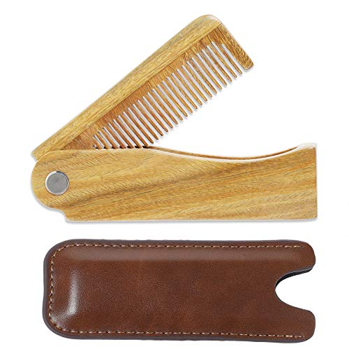 Onedor Sandalwood Fine Tooth Folding Brush Comb for Men Hair, Beard, and Mustache Styling, Pocket sized for Easy Carry