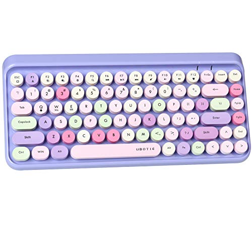 UBOTIE Portable Bluetooth Colorful Computer Keyboards, Wireless Mini Compact Retro Typewriter Flexible 84Keys Design Keyboard (Purple-Colorful)