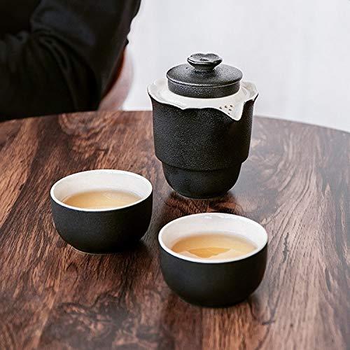 Water LIJM 4 In 1 Theepot + Twee Theekoppen + Storage Box Draagbare Reizen Grof Aardewerk Kung Fu Tea Set (zwart) Cups (Color : Black)