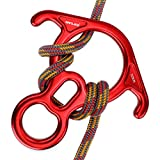 SAN LIKE 50KN Rescue Figure 8 Descender Climbing Gear with Large Bent Ear Belay Slots for Belaying Rappelling Rock Climbing Training Emergency Aerial Yoga Kit Fall Arrester Aluminum Alloy