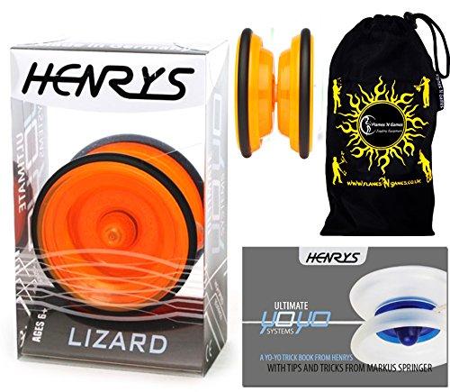 Henrys LIZARD YoYo (Orange) Professionelle Entry-Level-YoYo + Lehr-Broschüre von Tricks + Stoff Reisetasche! Große Pro YoYo für Kinder und Erwachsene! AXYS-Systemachse Slider mit High-Speed-Lager.