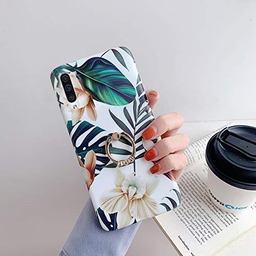URFEDA Cover con Ring Compatibile con Galaxy A70 Custodia con 360 Gradi Anello Rotante Cover Custodia Disegno Floreale Silicone TPU Kickstand Cover Glitters Antiurto Morbido Cover Fiore Bianco