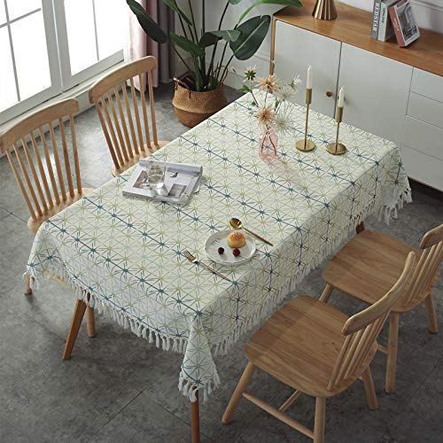 HTUO Tablecloth Christmas Decoration Geometric Grid Tablecloth Washable Table Cover Tassel Tablecloth Cotton Linen Household Dining Table Coffee Table Dustproof Cover Towel 135x135cm