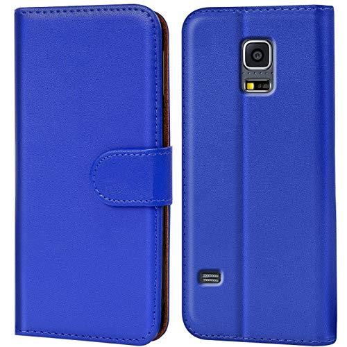 Verco Custodia per Samsung Galaxy S5 Mini, Case per Galaxy S5 Mini Cover PU Pelle Portafoglio Protettiva, Blu