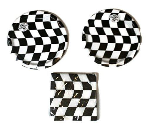 Open Wheel Indy Car Racing Checkard Flag Party Plates (16) Napkins (16)
