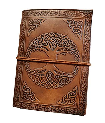 Kooly Zen - Árbol de la vida celta, cuaderno de notas, diario, libro, piel auténtica, vintage, marrón claro, beige, 12,50 cm x 17,50 cm, papel reciclado premium, 200 páginas