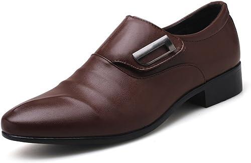 XIANGBAO-Personality Chaussures de Ville pour Hommes Simples, Cuir PU Mat, empièceHommests matelassés à Tige supérieure, Talons Hauts (Couleur   Marron, Taille   43 EU)