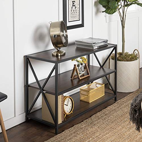 Walker Edison 2 Tier Open Shelf Industrial Wood Metal Bookcase Tall Bookshelf Home Office Storage, 40 Inch, Walnut Brown