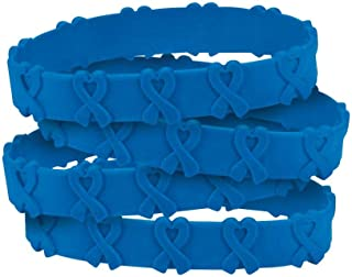 Fun Express 24 Blue Awareness Pop-Out Bracelets - Colon and/or Colorectal Cancer, Child Abuse, Respiratory Disease