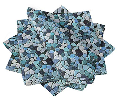 S4Sassy Azul Piedra Colorida Mosaico Mesa de Comedor de Tela Impresa Juego de servilletas de cóctel 18 x 18(Paquete de 6)