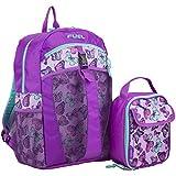 Fuel Backpack & Lunch Bag Bundle, Grape/Turqoise/Colorful Butterflies Print