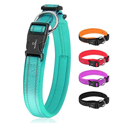 MASBRILL Hundehalsband Verstellbare, Weich Gepolstertes Neopren Nylon Hunde Halsband Reflektierend Atmungsaktives Hundehalsbänder für Welpen Kleine Mittlere Große Hunde(Blau, S)
