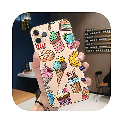 Carcasa para iPhone 12, diseño de macarons Pizza Chips Café para iPhone 12 Mini 11 Pro XR X XS Max 8 7 6 6S Plus Carcasa TPU flexible A0288-For iPhone 7Plus