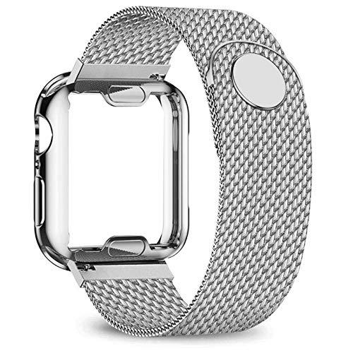 ZLRFCOK Carcasa + correa para Apple Watch de 40 mm, 44 mm, 38 mm, 42 mm, correa de metal de acero inoxidable serie 6, 5, 4, 3, 2 SE, (color de la correa: plata, ancho de la correa: 44 mm, serie 5, 4)