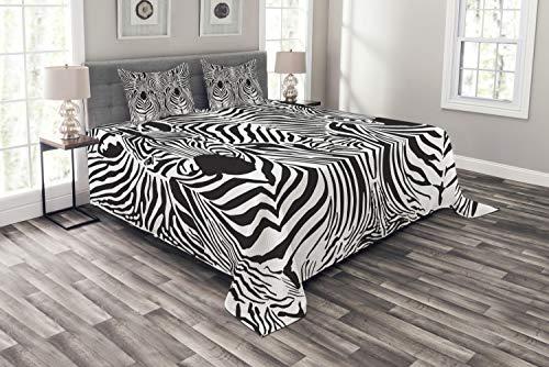 ABAKUHAUS Zebra-Druck Tagesdecke Set, Safari Zebra-Streifen, Set mit Kissenbezügen Kein verblassen, für Doppelbetten 220 x 220 cm, Weiß Schwarz