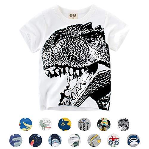 Unisexe Petits Enfants T-Shirts à Manches Courtes Cartoon Animal Imprimé Dinosaure/Requin/Voiture Été Casual Chemisier (3-4 Ans, A- Blanc)